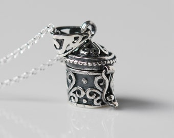 Stash necklace, sterling silver wish box, pill, locket, treasure, ashes, perfume, secret, prayer, poison, snuff pendant necklace - Kerensa
