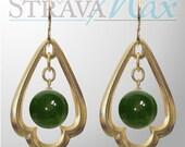 BC Jade Trefoil Earrings - 42mm length - 10mm nephrite jade beads - gothic style gold geometric pendants - gold filled earwires