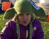 Yoda Earflap Hat - 3 To 5 Years - Costume - Star Wars Inspired - Ready To Ship!