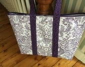 Pretty lilac toile and gingham reversible oilcloth tote bag