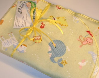 Extra Large - Sage Green Noah's Ark Friends Flannel Receiving Blanket, Flannel Receiving Blankets, Baby Blankets, Swaddle Blankets, Newborns