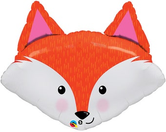 "Fox Balloon, Birthday Balloons, Balloons, HAPPY BIRTHDAY  Balloon, Farm Party, Party, 33"" Mylar Helium or Air"