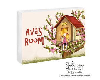 Girl bedroom sign personalized,Custom name sign decor, girls room decor, girls tree house door sign, kids door plaque, childrens art,nursery