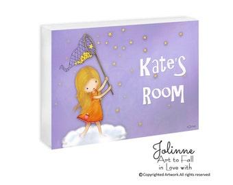 Girls door sign, room decor, personalized door sign, children art kids room sign, girls art,custom name sign,nursery baby shower gift