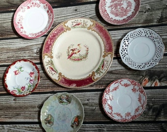 French Plate Wall Decor China Mismatched China Set Red Bird Toile