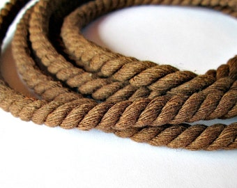 Twisted cotton cord, 8 mm, brown, 2 meters