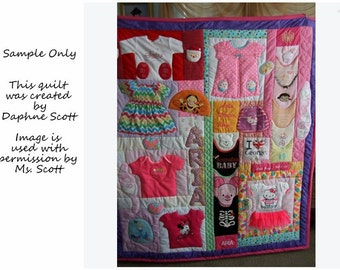 MADE TO ORDER Baby or Children's Clothes Memory Quilt, 42x50 Crib Quilt, Option I