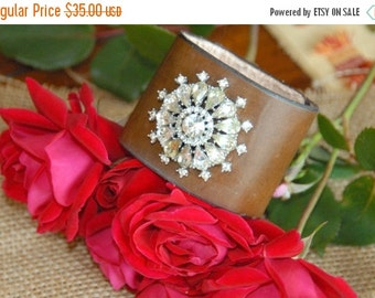 ON SALE in JULY Repurposed Vintage Brooch on Leather Cuff, Vintage Estate Brooch, Leather Cuff, Embellished Leather Cuff, Womens Cuff,Upcycl