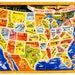 Vintage 1950s Toy Puzzle / 50s AM Walzer Company United States Map Inlay Puzzle no. 125 VGC / 48 States