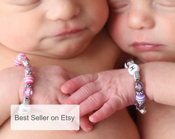 Twin ID Bracelets Twin Bracelets Newborn ID Bracelets Twin Girls Bracelets Set of Two B074
