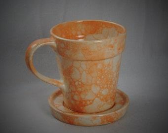 Ceramic Flower Pot Mug and Saucer