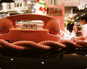 vintage telephone photo, baby pink phone, vintage Trimline, bakery, light pink, 70s, 60s, bakery, retro, sweets, soft pink, wall decor, art