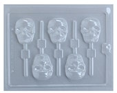 Skull Lollipop Mold, Skull Chocolate Mold, Skull Chocolate Sucker Mold, Halloween Candy Mold, Day of the Dead Candy Mold