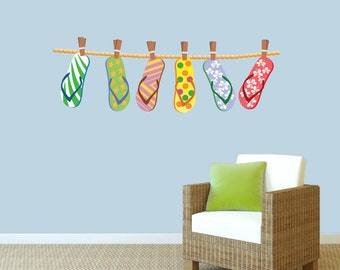 Hanging Flip Flops - Printed Wall Decals