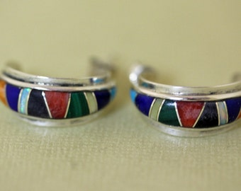 Zuni Silver Earrings Inlaid Charles Hustito