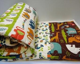 Elephant Baby Quilt-Crib Bedding-Modern Organic Birch Fabric-Safari Soiree-Elephun-Ele Train-Toddler Quilt-African Animals-Zoo Animals