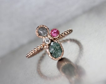 Multicolored Rough Diamond Cluster Engagement Ring 14K Rose Gold Raw Teal Gray Faceted White Brilliant Pink Tourmaline Her Bridal - Libelle