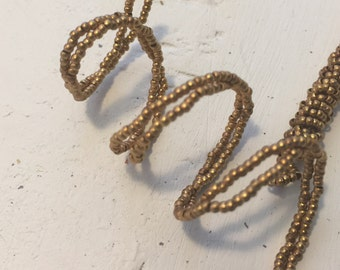 french metal beads on wire  brass goodtone  antique beaded flower supply 18 inch