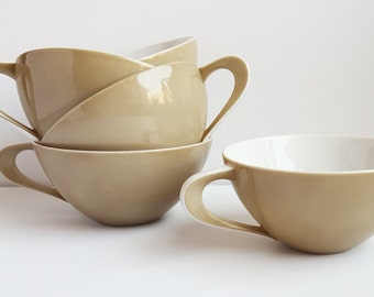 Vintage Tea Cups, Mid Century Modern Coupe Shape, Tan and White, Sango, Japan, Atomic Shape,