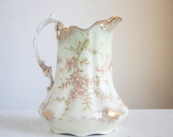 Antique Water Pitcher, Floral Pattern With Gold, Maddock's Works, Lamberton, Early Mark, Late 1800s, Very Nice Condition, Cottage Home Decor