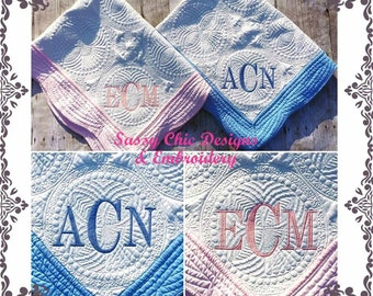 Monogrammed Baby Quilt,Personalized Baby Quilt,Baby Quilt,Baby Girl Quilt,Baby Boy Quilt,Birth Announcement Quilt,Baby Gift,Baby Shower Gift