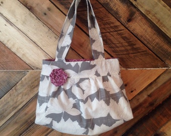 Purse handbag shoulder bag spring floral fabric purple gray