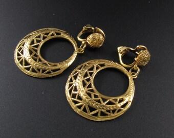 Gold Filigree Hoop Earrings, Gold Earrings, Hoop Earrings, Pierced Metal Earrings, Gypsy Earrings, Boho Earrings