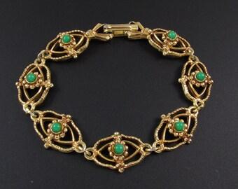 Florenza Renaissance Revival Bracelet, Florenza Bracelet, Gold Filigree Bracelet, Green Bracelet, Renaissance Bracelet
