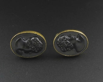 Coro Cameo Earrings, Black Cameo Earrings, Plastic Cameo Earrings, Coro Earrings