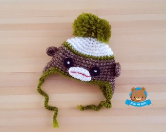 Sock monkey hat for Pukifee Lati Yellow Mui Chan