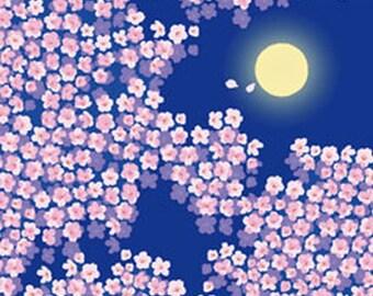 Japanese Tenugui Cotton Fabric, Cherry Blossom, Full Moon & Sakura Flower, Hand Dyed Fabric, Wall Decor, Spring Art Wall, Home Decor, h323