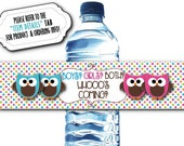 10 Waterproof Peel & Stick Water Bottle Labels, TWINS Baby Shower, Baby Gender Reveal Party, Twins Baby Owls, Pink and Blue, Polka Dots