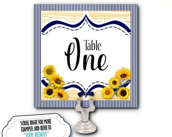 Table Number Cards, Buffet Food Labeling Cards, Table Signs, Sunflowers, Navy & Yellow, Wedding, Bridal or Baby Shower, Birthday