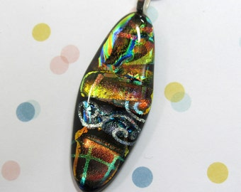 Dichroic Glass Jewelry - Fused Glass Pendant - Great Gift For Her - Unique Fused Dichroic Glass Necklace - 35-16
