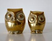 Vintage Brass Owl Figurines Set of Two Hollywood Regency Decor