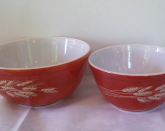 2 Pyrex Wheat Mixing Bowls, 402 Pyrex, 403 Pyrex, Autumn Harvest, Wheat Stalks, Vintage Pyrex, Pyrex Casserole Bowls,  Vintage Kitchen,
