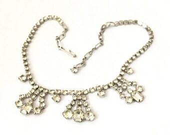 Faux Diamond Choker Necklace, Vintage Choker Necklace, Vintage Rhinestone Necklace, Vintage Jewelry, Silver Necklace, Great Gatsby Necklace