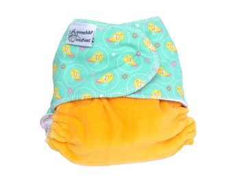 Cloth Diaper Fitted, One Size, Birds - Add Snaps, Hook and Loop, or Pins