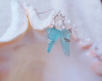 Sea Glass Earrings Little Triangles with Crystals Frozen Icicle style