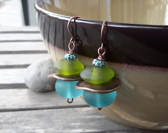 Aqua & Lime Glass Dangles   Frosted Glass Drops   Blue, Green and Copper Earrings
