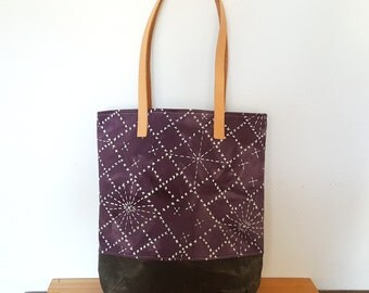 Organic Shoulder Bag with Sashiko Pattern in Logwood