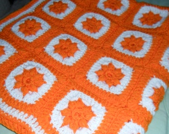 Crochet Throw - Crochet Afghan - Crochet Coverlet - Crochet Blanket - Crochet Gift ''STAR FLOWER'' in Orange and White