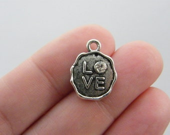 4 Love rhinestone  charms antique silver tone M924