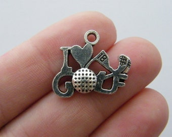 4 I love golf charms antique silver tone SP134