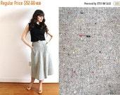 ON SALE 50s Skirt / 1950s Gray Wool A Line Skirt