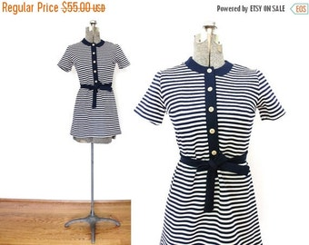 ON SALE 1960s Dress / 60s Mod Dress / 60s Navy Blue Striped Mini Dress