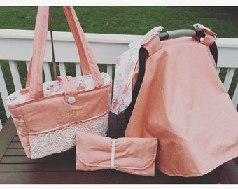 Diaper bag set: includes, custom diaperbag, car seat canopy and changing pad, as seen or pick your own fabric