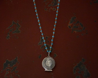 Sterling Silver Cross Locket on Sterling Silver Turquoise Stone Beaded Chain - Great Holiday Gift -
