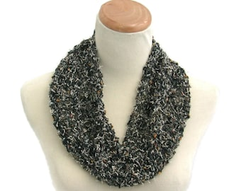 Knit Cowl, Necklace Scarf, Circle Scarf, Gift For Her, Black Scarf, Women Scarf, Fiber Art, Fashion Scarf, Mothers Day, Spring Scarf