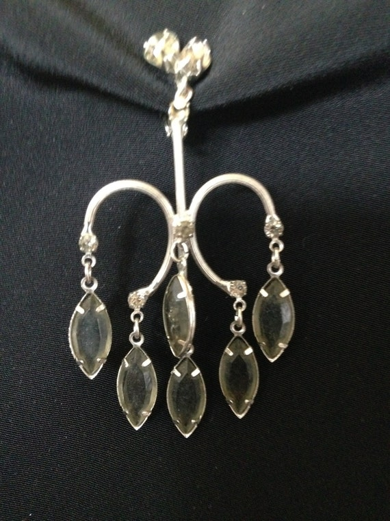 RHINESTONE Chandelier EARRINGS Smokey-Grey vintage